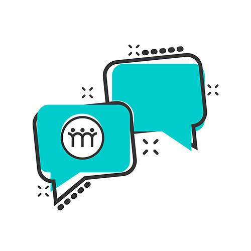 "Kuntavaalit 2021 mielenterveys - Mielenterveyspoolin ""Vastaan mielenterveydestä"" -kampanjaQuestion and answer icon in comic style. Discussion speech bubble vector cartoon illustration pictogram. Question, answer business concept splash effect."